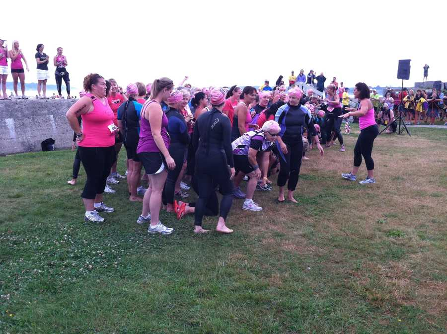 Cancer survivors prepare for the start of the race.