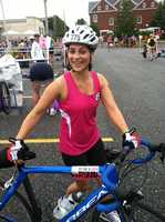 News 8's Meghan Torjussen gets ready for her bike ride.