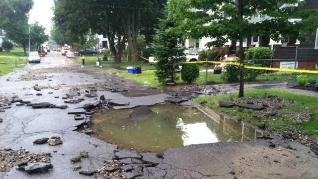 A water main break closed Bancroft Road at Brighton Ave. Thursday morning.