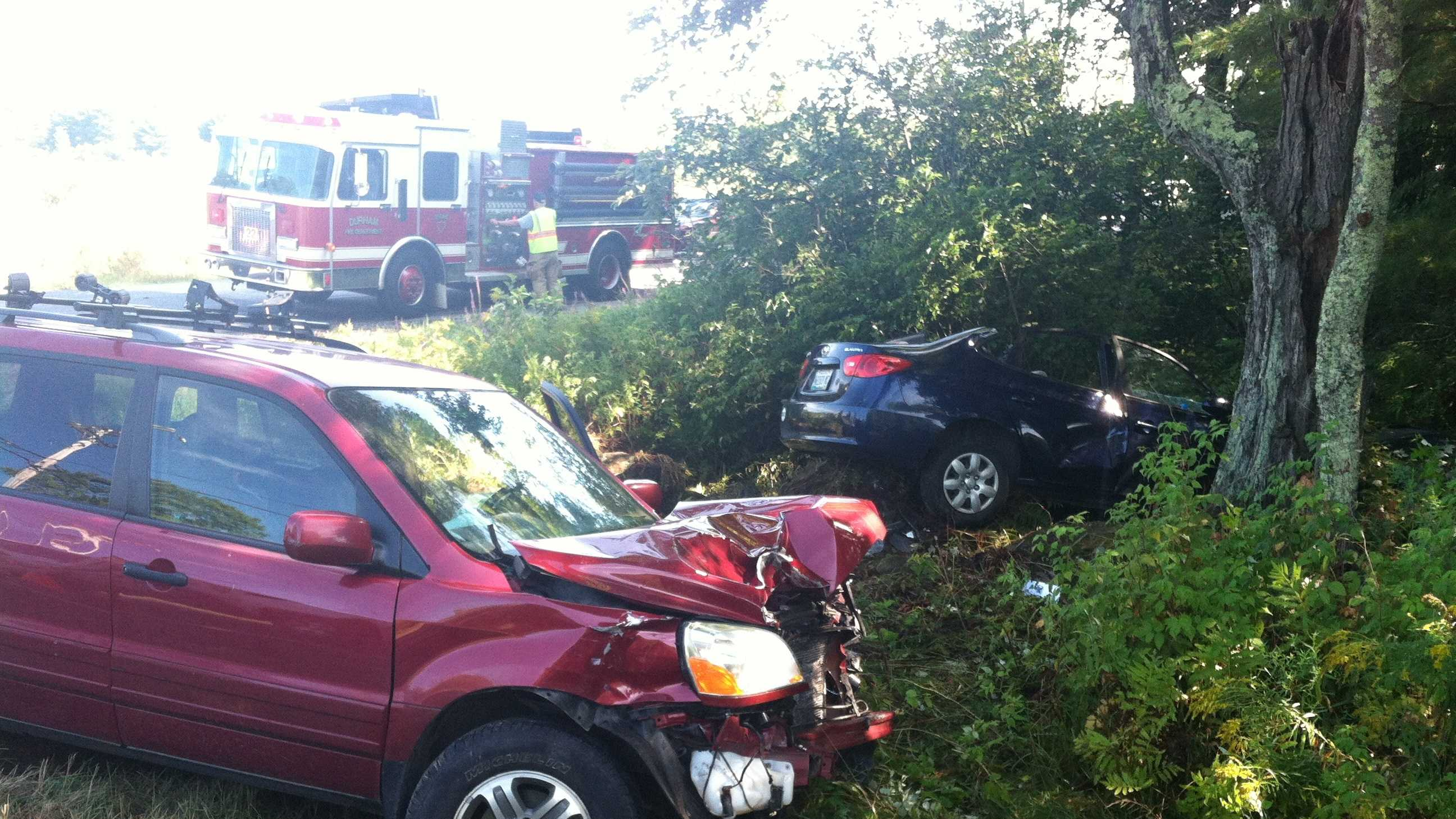 A two-car crash on Rt. 136 in Durham.