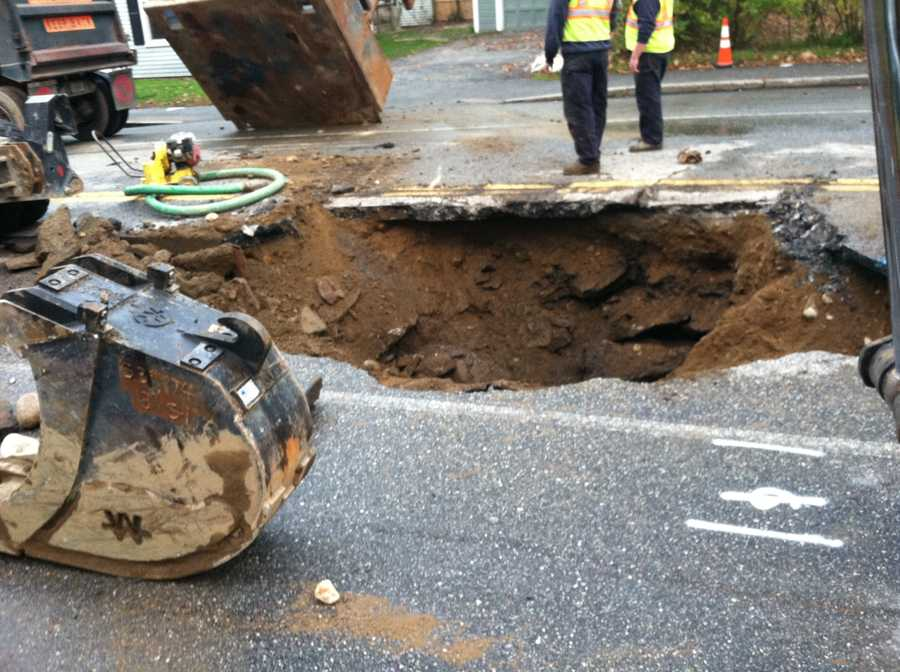 Crews were working to patch the road in time for the Tuesday morning commute.