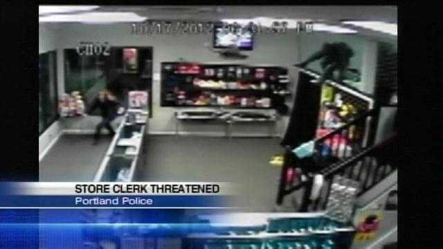 Security at a Portland store has been increased after police release dramatic video of an attempted armed robbery.