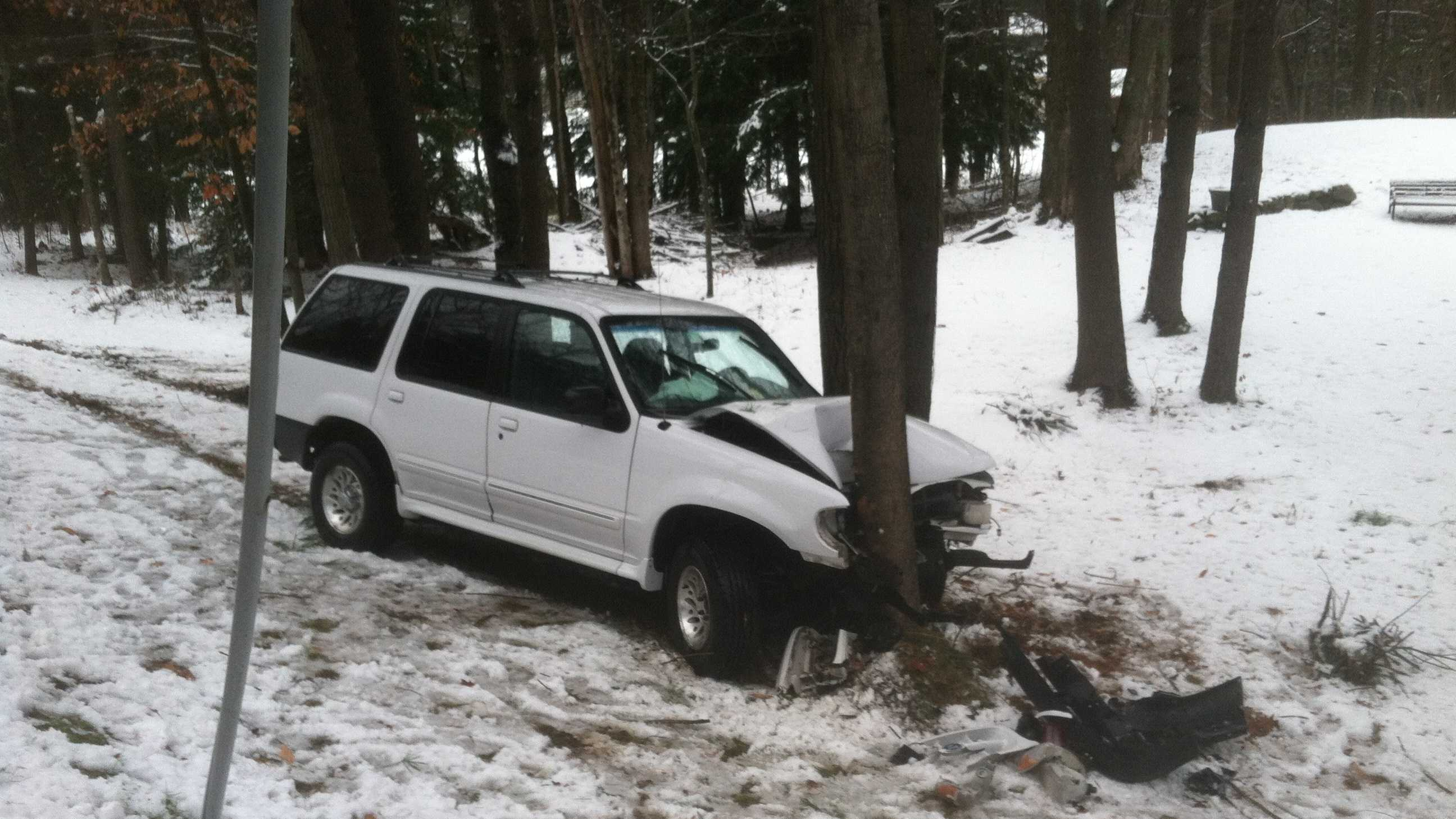 Westbrook Police say the vehicle occurred around 7:30 this morning at 1032 Methodist Road. The vehicle was traveling too fast for the conditions from the morning's Nor'Easter, slid off the road and hit a tree.