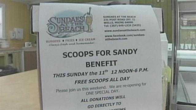 A local ice cream shop in Wells held a benefit Sunday to raise money for Sandy victims.
