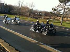 Sunday's funeral procession began at the South Portland Police Department.