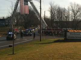 The procession ended at Westbrook Middle School.