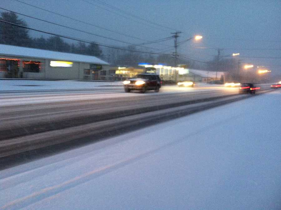 The snow started falling first in Kittery, where travel was slow going Wednesday morning.