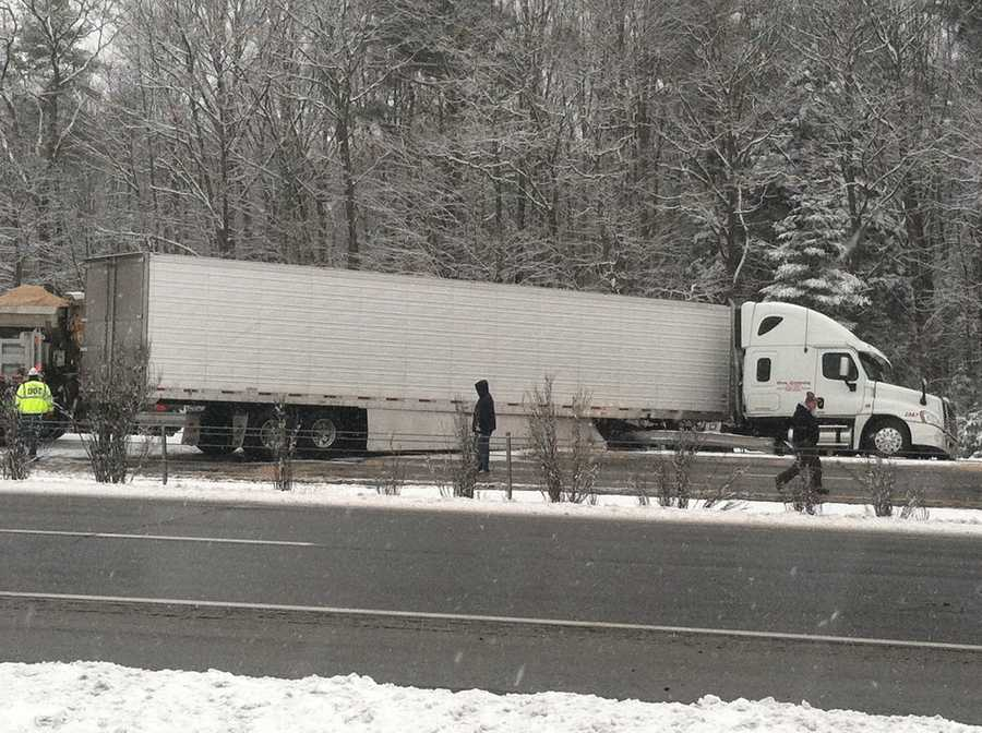 Maine State Police said a tractor-trailer blocked both southbound lanes of Interstate 295 in Yarmouth.