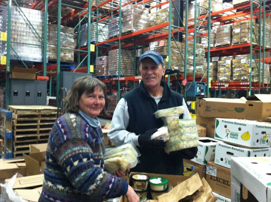 25 volunteers inspected and sorted donated food including canned goods, meats, bread and bakery items.