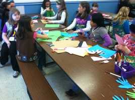 Local Girl Scouts took part in a day of service on MLK Day in Westbrook at the Community Center
