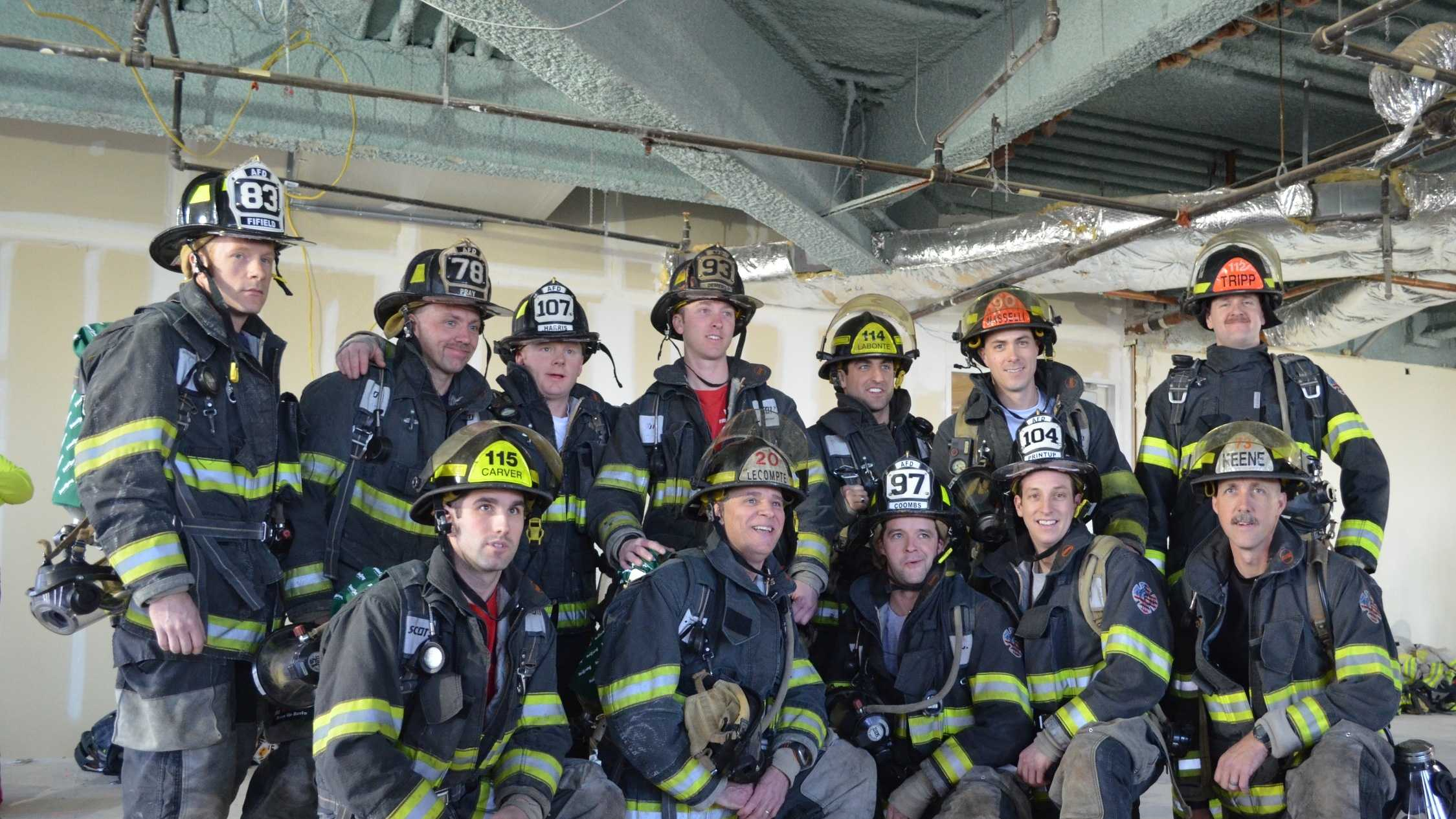 """Firefighters from the Auburn Fire Dept. came in first out of 41 firefighter teams and raised $5,000 at the American Lung Association's Fight for Air Climb held in Boston on Feb. 2. """"Maine's Bravest"""" team members are (front, left to right) Justin Carver, Mike Lecompte, Steve Coombs, Tom Printup and Chip Keene, and (back, left to right) Matt Fifield, Scott Pray, Josh Harris, Ryan Demers, Josh LaBonte, Dan Masselli and Mark Tripp."""