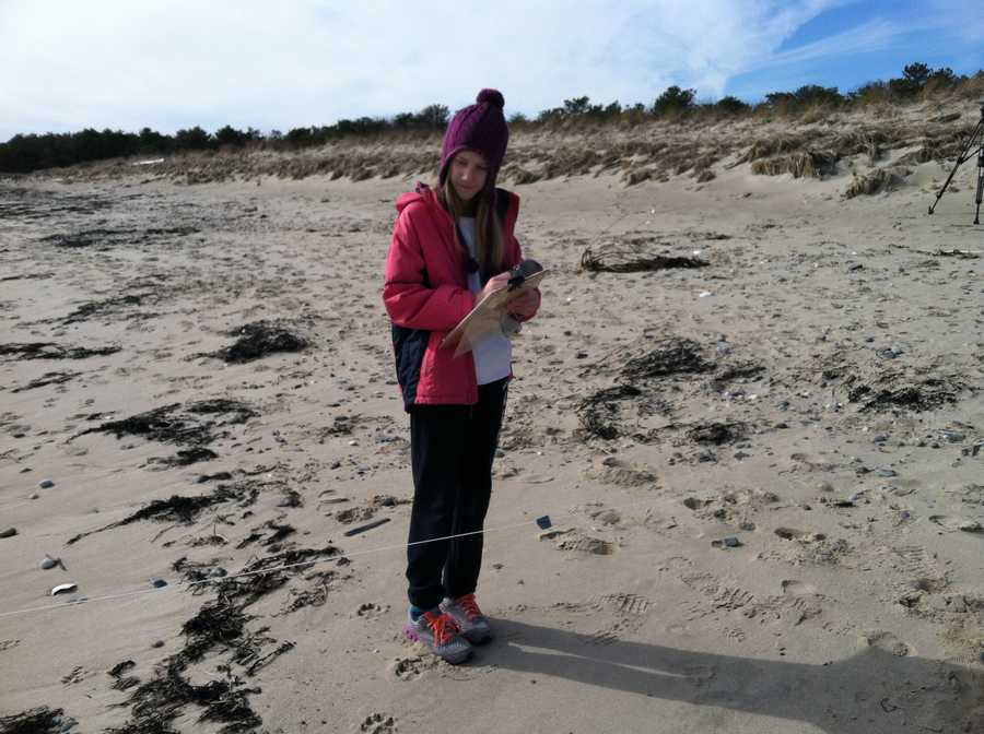 Seventh graders at Scarborough Middle School will spend several hours Tuesday on Scarborough Beach measuring the slope of the beach.