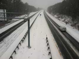A snow-covered I-295 in Falmouth