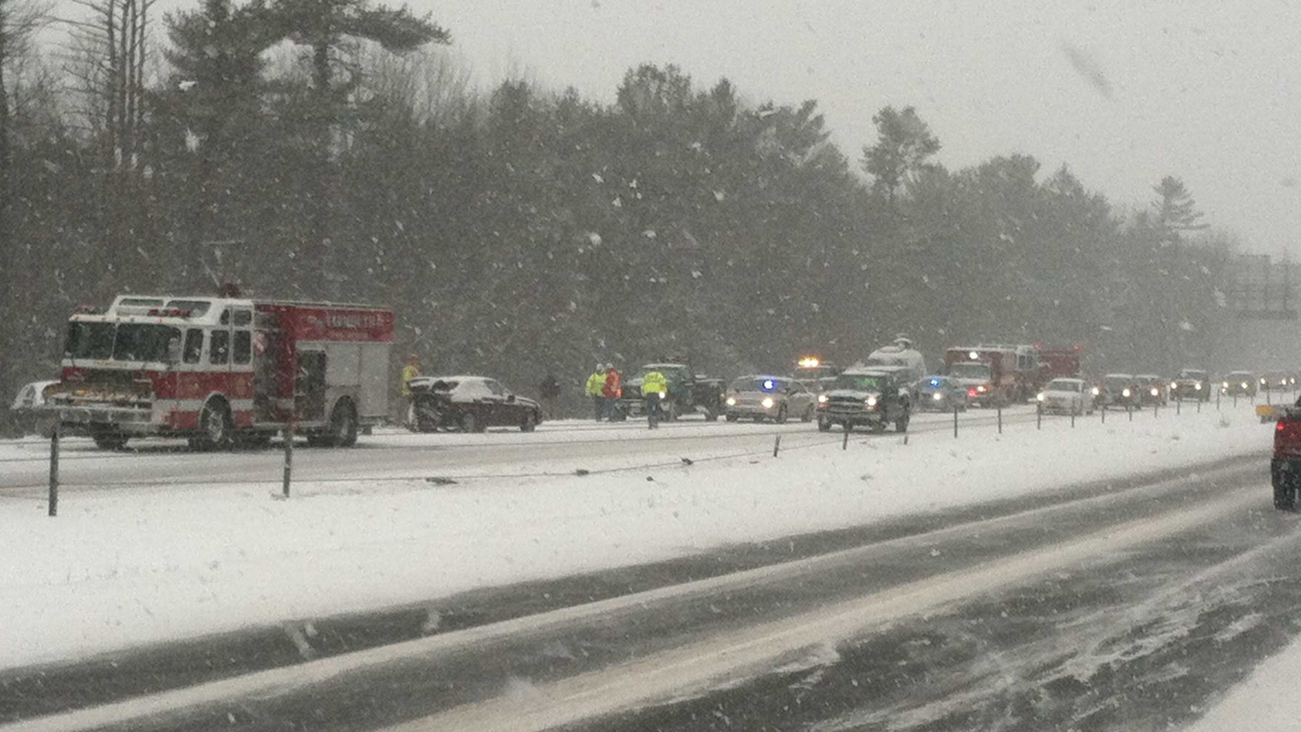 A 19 car pileup shut down a section of Interstate 295 in Cumberland Friday morning.