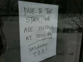 The Starbucks in Portland closed early due to the storm.