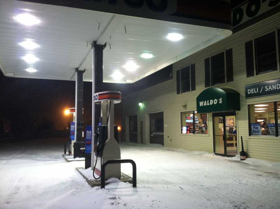 Waldo's General Store in Falmouth remained open Friday night during the storm.