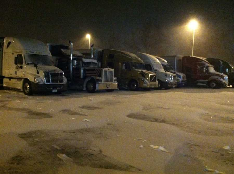 Trucks are stranded at the Kennebunk rest stop on the Maine Turnpike.