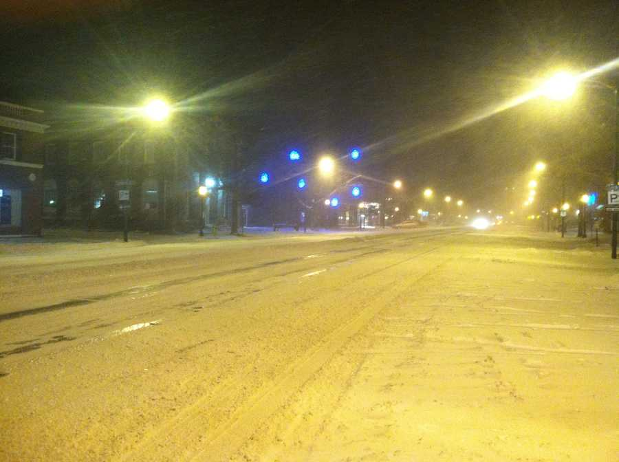 A very desolate Maine Street in Brunswick Friday night.