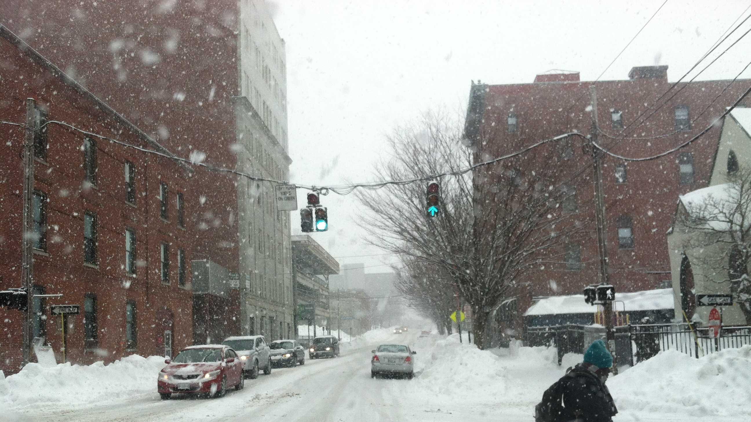 The scene in Portland at 12:45 p.m.