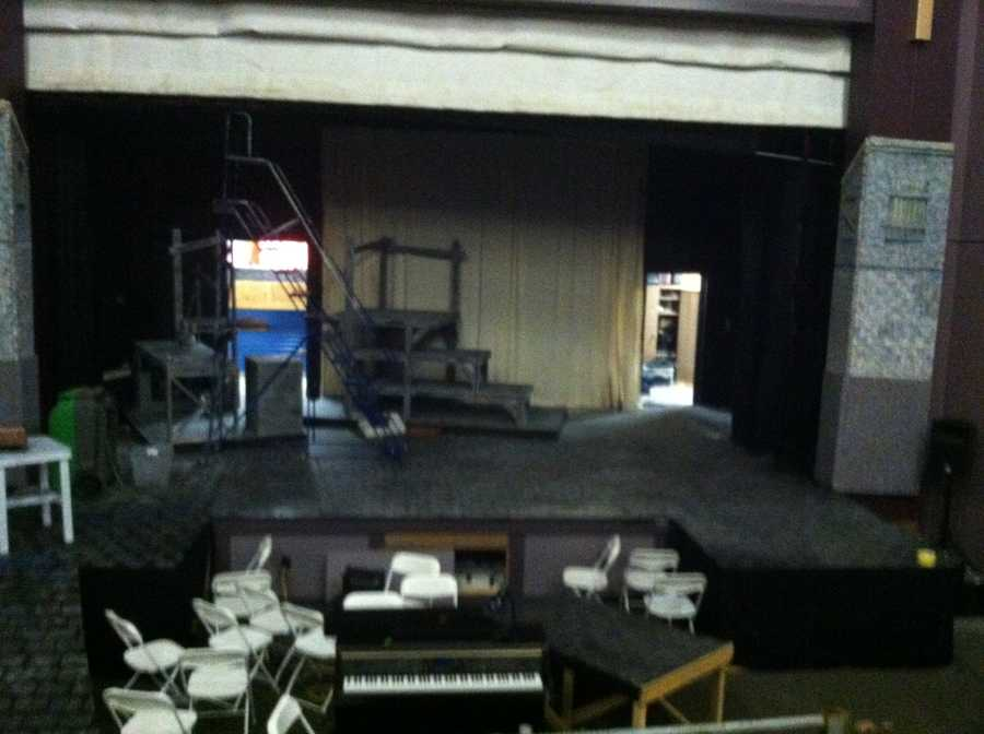 Smoke and water damage at Berwick Academy. The white fire curtain was pulled to contain fire on stage yesterday.