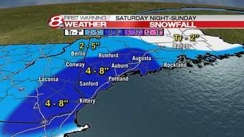 Parts of southern Maine could see six inches or more of snow from a nor'easter on Sunday. Click for an updated timeline of the storm.