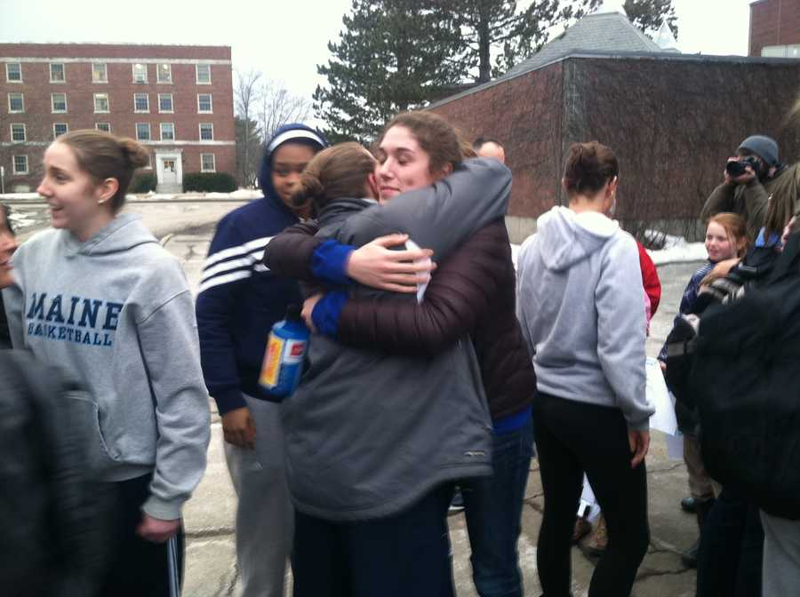 Members of the basketball team returned to campus Wednesday afternoon.