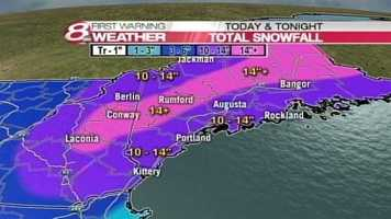 A foot of snow or more is possible from the major winter storm hitting Maine on Tuesday. Click through for a timeline of the storm.