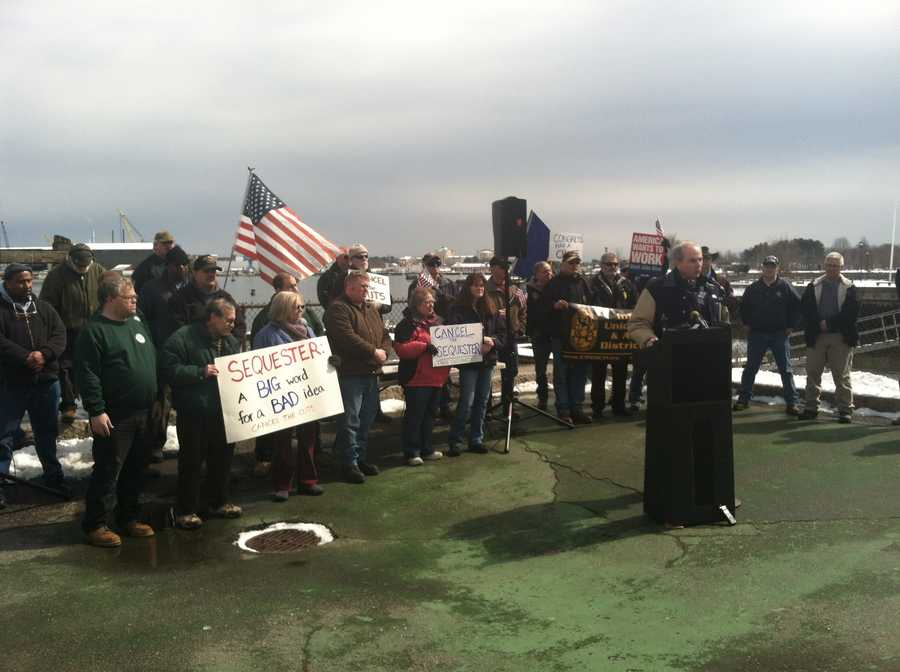 Works at the Portsmouth Naval Shipyard in Kittery rallied against government cuts that will have a direct impact on their jobs.