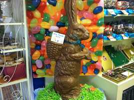 Giant chocolate bunny at Wilbur's of Maine