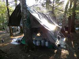 Hughes said the campsite is in a wooded area, and that 100 feet away you wouldn't see it due to camouflaging.