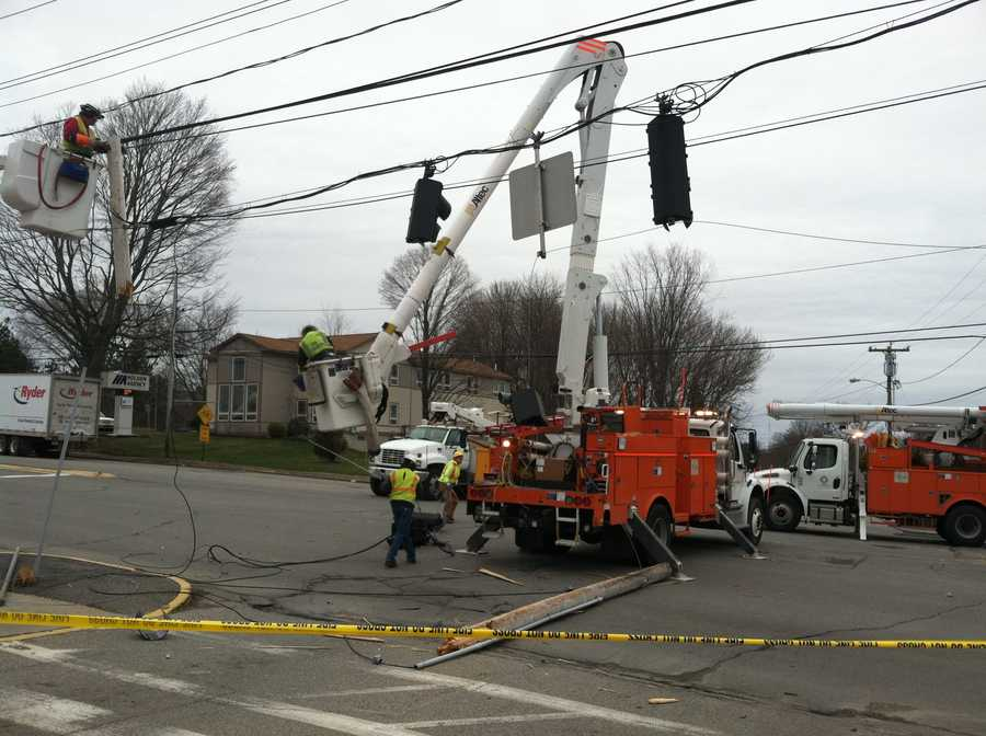 A truck took down a utility pole and wires in Brighton Avenue in Portland near the Pine Tree Shopping Center. The road was closed while crews cleaned up the mess.