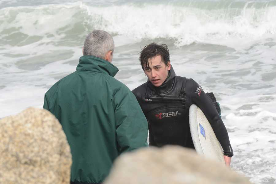 Before emergency crews could get into the water, Pothier said another surfer helped the stranded surfer back to shore.