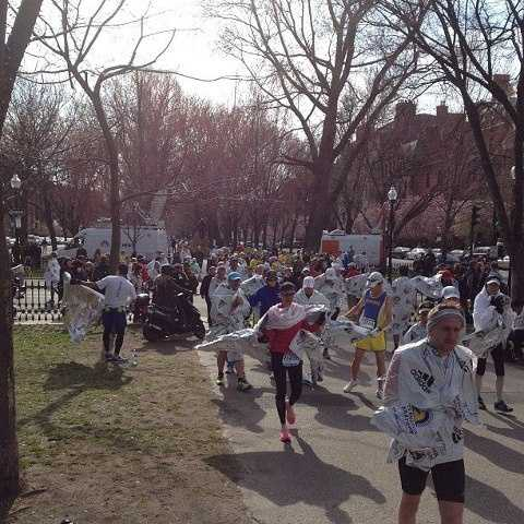 The runners who hadn't yet finished were sent to a makeshift finish line on Commonwealth Ave.