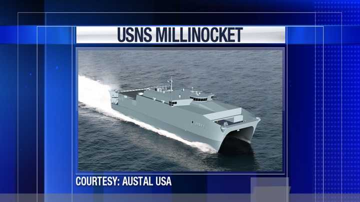 This is an artist's rendering of the USNS Millinocket from the ship's manufacturer Austal USA.