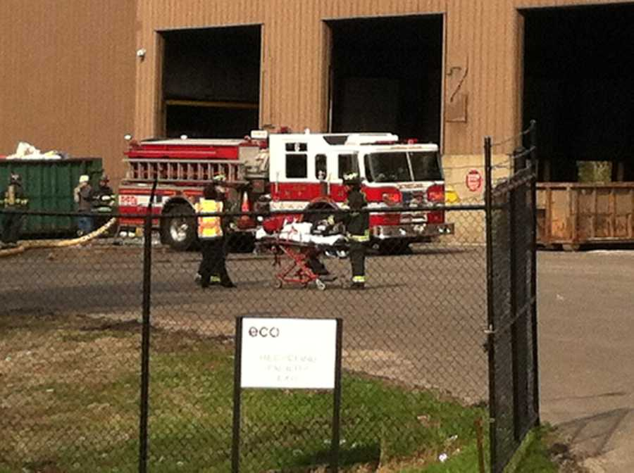 Portland firefighters contained a fire at the EcoMaine recycling facility Monday morning.