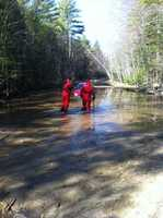 Rescue crews in Lebanon saved a New Hampshire man after his car got stuck in water Friday morning.