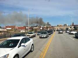 Smoke could be seen across the river, in Auburn.