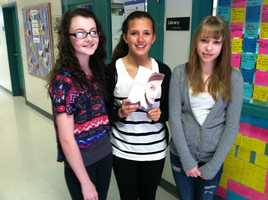 Acton Elementary-Middle School 8th graders Chelsea Smith, Hannah Miller, Baileigh McGoon. began the positive notes campaign.