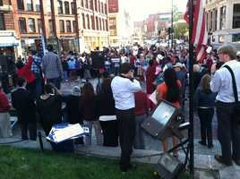 Hundreds of people gathered in Portland's Monument Square on Wednesday rallying for immigration reform.