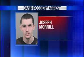 Joseph Morrill pleaded guilty in federal court to stealing a police officer's gun and robbing a bank and convenience store.