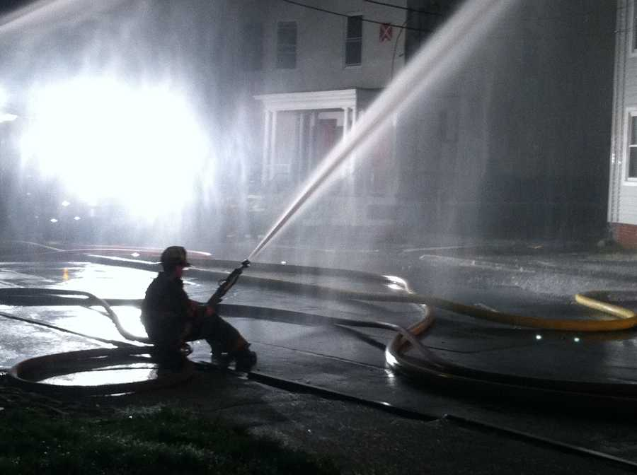 Crews battled a fire that damaged five buildings in Lewiston late Friday night.