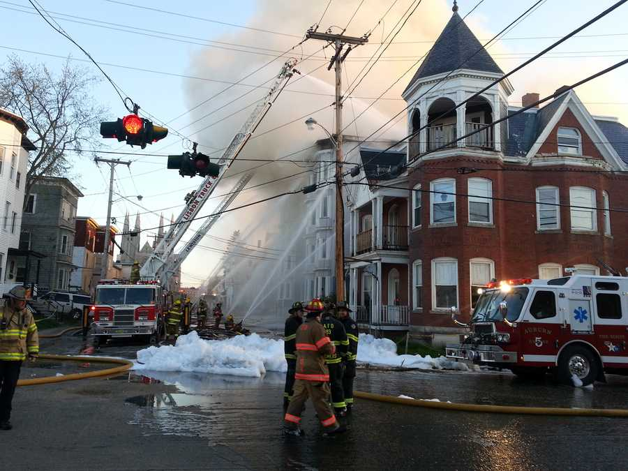 Firefighters from several towns battled a major fire in Lewiston Monday morning.