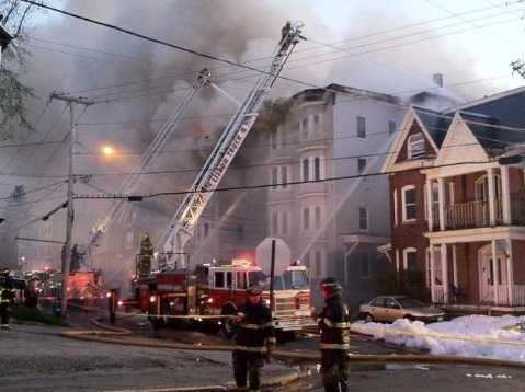 Monday morning: Fire breaks out in building near intersection of Bartlett Street and Walnut Streets. Three buildings were affected by fire. Investigation continues into the cause.