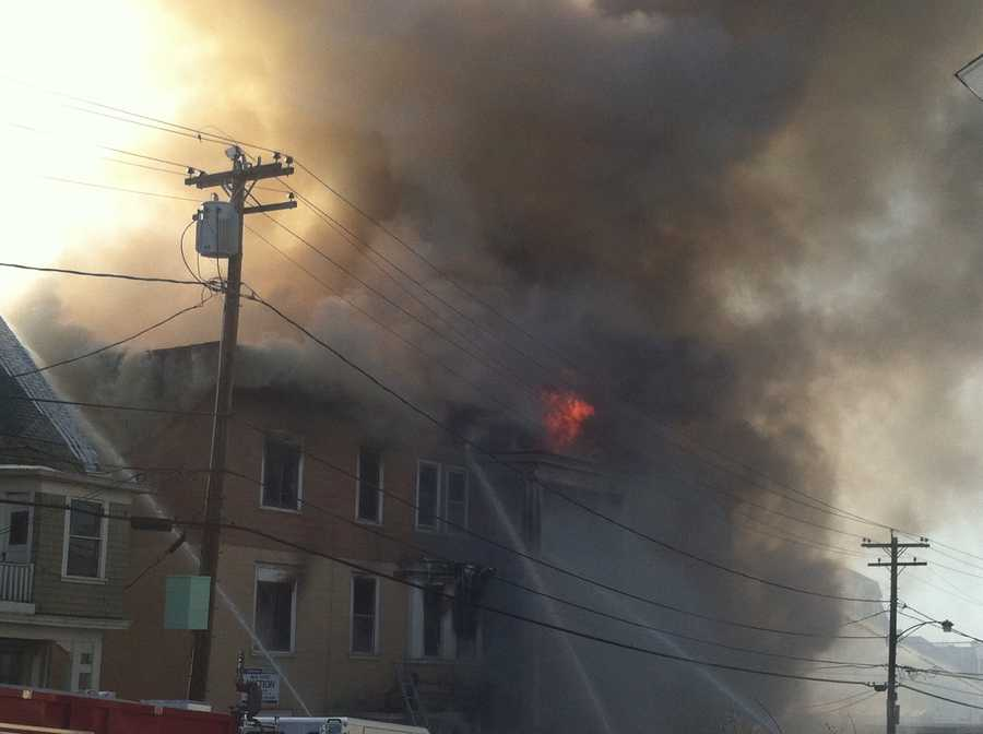 Monday afternoon: Fire breaks out in building on Blake Street. The fire spread to two other buildings.