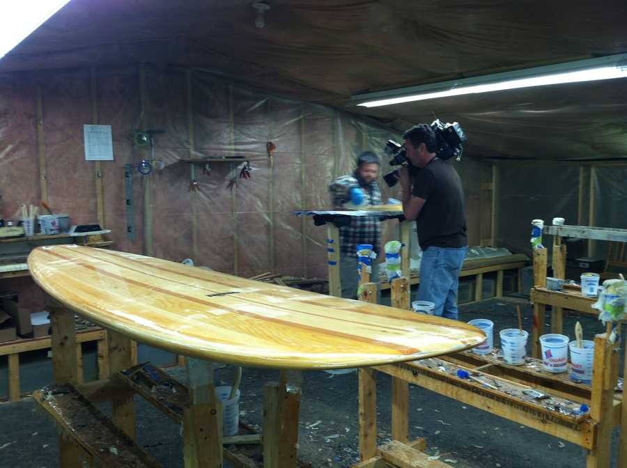Later this summer, this workshop will be filled with dozens of students from all over the world who have come here to learn how to build a surfboard.