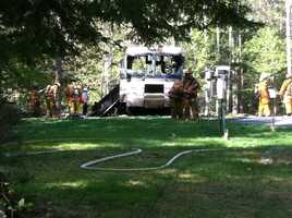 Fire destroyed an RV parked in a yard at 79 Ramsdell Road in Gray Monday morning.