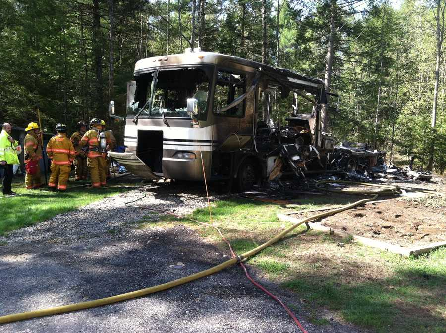 The owner of the RV called the fire department around 8:45 a.m. when he saw the vehicle fully engulfed in flames.