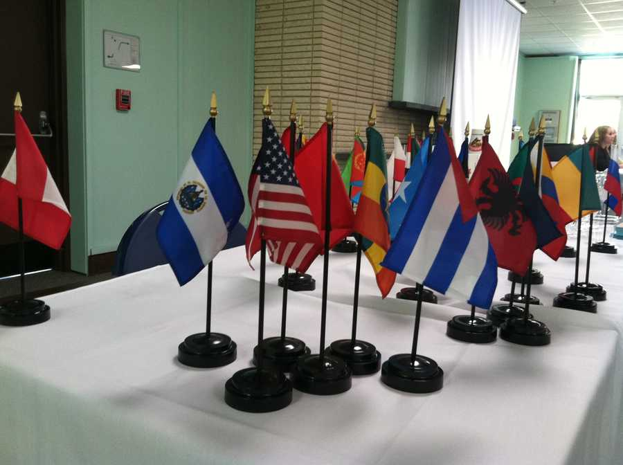 The students debate topics while acting as representatives of various countries.