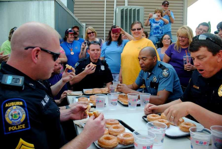 Several police agencies took part in the Law Enforcement Torch Run Donut Eating contest on Friday.