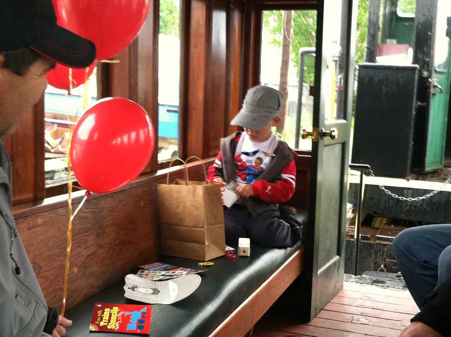 On Monday, Payton rode the Maine Narrow Gauge Railroad in Portland and explored the museum.